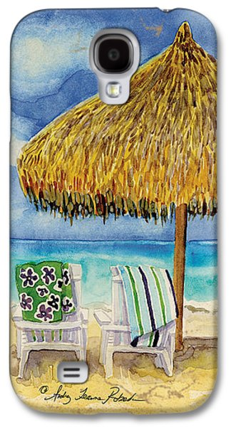 Beach Towel Galaxy S4 Cases - Palappa n Adirondack Chairs on the Mexican Shore Galaxy S4 Case by Audrey Jeanne Roberts