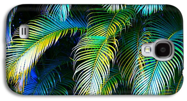 Palm Leaves In Blue Galaxy S4 Case by Karon Melillo DeVega