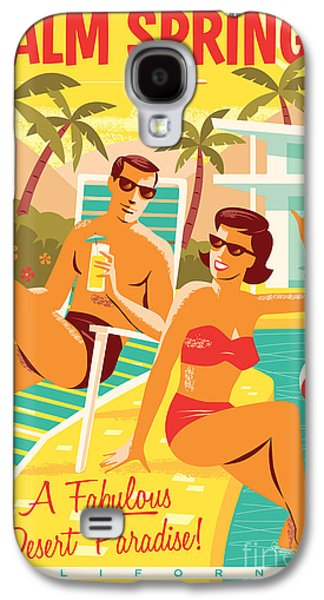 Palm Springs Retro Travel Poster Galaxy S4 Case by Jim Zahniser