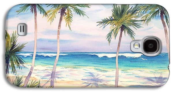 Beach Landscape Galaxy S4 Cases - Palm Trees Casting Shadows Onto Beach Galaxy S4 Case by Gillham Studios
