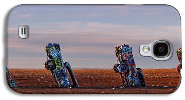 Landmarks Photographs Galaxy S4 Cases - Panorama of Cadillac Ranch in the Early Morning - Amarillo Texas Panhandle Galaxy S4 Case by Silvio Ligutti