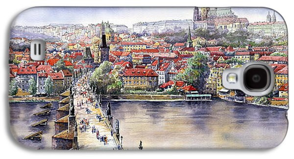Watercolour Galaxy S4 Cases - Panorama with Vltava river Charles Bridge and Prague Castle St Vit Galaxy S4 Case by Yuriy  Shevchuk