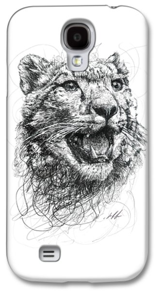 Cheetah Drawings Galaxy S4 Cases - Leopard Galaxy S4 Case by Michael  Volpicelli