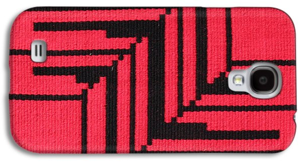 Indian Tapestries - Textiles Galaxy S4 Cases - Papago Corners in Red Galaxy S4 Case by Judy Hilbish