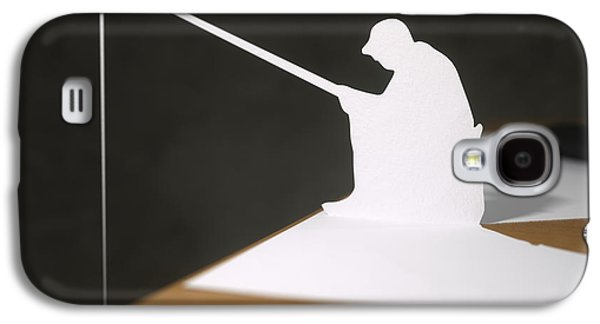 Sports Sculptures Galaxy S4 Cases - Paper fisherman fishing from desk Galaxy S4 Case by Richard Seanor