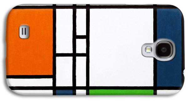 Neo Galaxy S4 Cases - Parallel Lines Composition with Blue Green and Orange in Opposition Galaxy S4 Case by Oliver Johnston