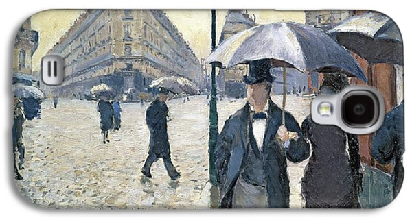 Street Paintings Galaxy S4 Cases - Paris a Rainy Day Galaxy S4 Case by Gustave Caillebotte