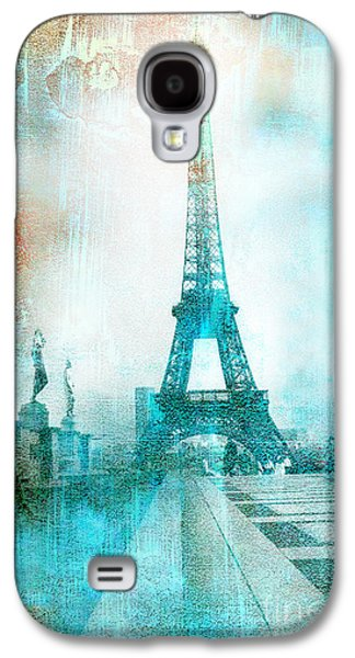 Abstract Digital Photographs Galaxy S4 Cases - Paris Eiffel Tower Aqua Impressionistic Abstract Galaxy S4 Case by Kathy Fornal