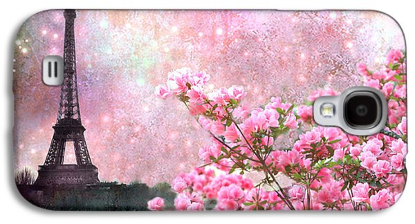 Paris Eiffel Tower Cherry Blossoms - Paris Spring Eiffel Tower Pink Blossoms  Galaxy S4 Case by Kathy Fornal