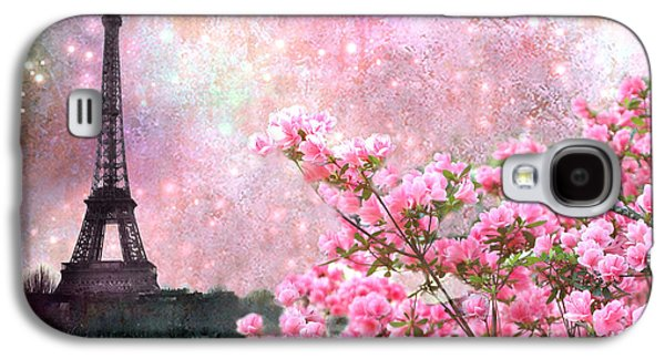 Cherry Blossoms Galaxy S4 Cases - Paris Eiffel Tower Cherry Blossoms - Paris Spring Eiffel Tower Pink Blossoms  Galaxy S4 Case by Kathy Fornal