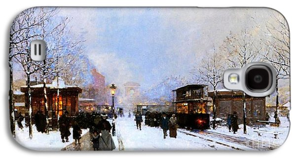 Christmas Cards - Galaxy S4 Cases - Paris in Winter Galaxy S4 Case by Luigi Loir