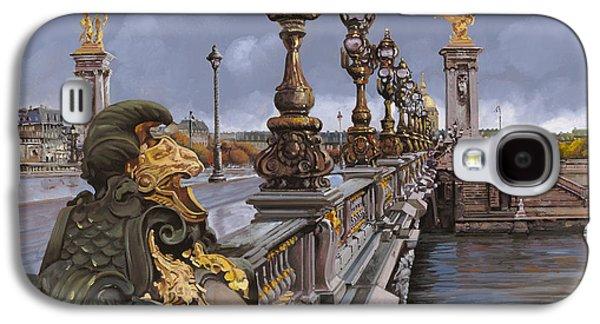 Bronze Galaxy S4 Cases - Paris-pont Alexandre III Galaxy S4 Case by Guido Borelli