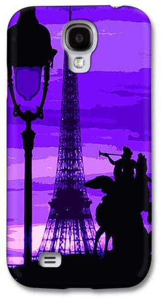 Abstract Digital Art Galaxy S4 Cases - Paris Tour Eiffel Violet Galaxy S4 Case by Yuriy  Shevchuk