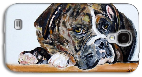 Boxer Galaxy S4 Cases - Parker the Boxer Galaxy S4 Case by Jodie Marie Anne Richardson Traugott          aka jm-ART