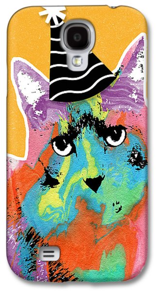 Party Birthday Party Galaxy S4 Cases - Party Cat- Art by Linda Woods Galaxy S4 Case by Linda Woods