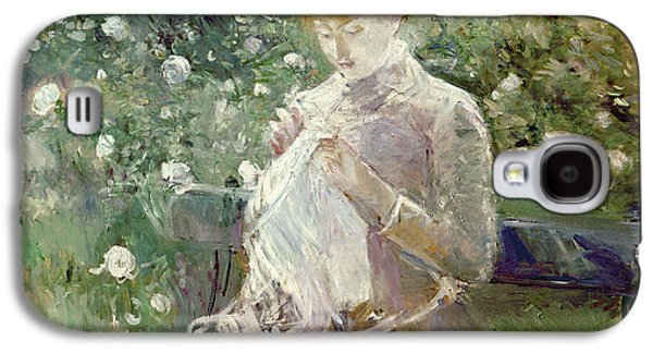 Chair Galaxy S4 Cases - Pasie sewing in Bougivals Garden Galaxy S4 Case by Berthe Morisot