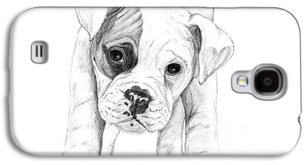 Boxer Drawings Galaxy S4 Cases - Patch A Boxer Puppy Galaxy S4 Case by Stacey May