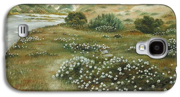 Early Spring Paintings Galaxy S4 Cases - Path of flowers Galaxy S4 Case by Angeles M Pomata