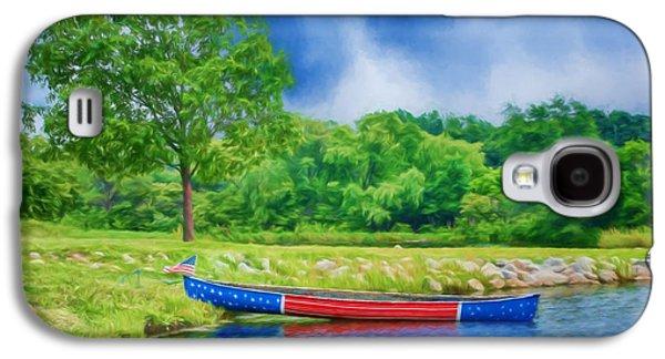 Landmarks Photographs Galaxy S4 Cases - Patriotic Canoe #2 - Red White Blue Galaxy S4 Case by Nikolyn McDonald