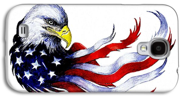 4th July Paintings Galaxy S4 Cases - Patriotic eagle Galaxy S4 Case by Andrew Read