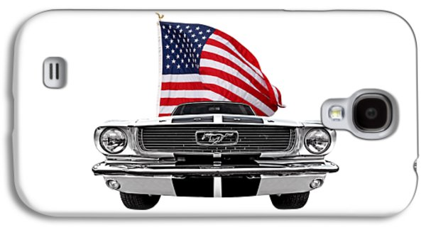 Patriotic Mustang On White Galaxy S4 Case by Gill Billington