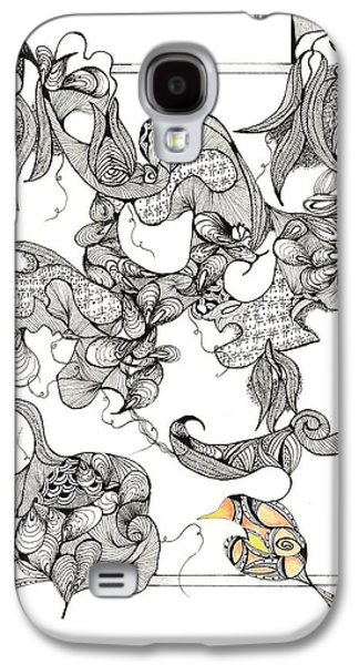 Colored Pencil Abstract Drawings Galaxy S4 Cases - Pea Vine Galaxy S4 Case by Ronda Breen