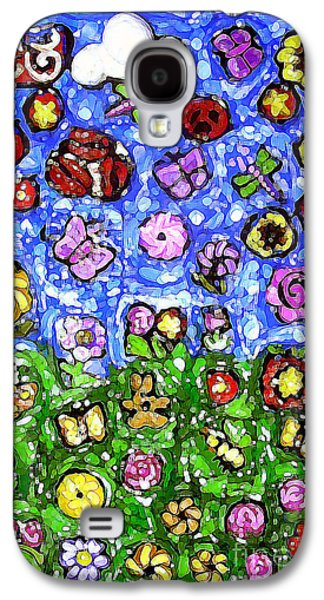 Abstract Digital Mixed Media Galaxy S4 Cases - Peaceful Glowing Garden Galaxy S4 Case by Genevieve Esson