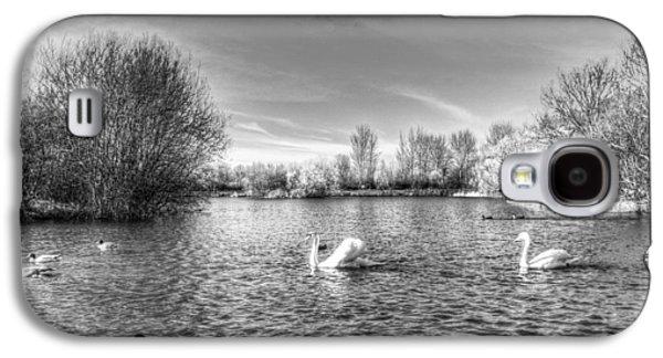 Swan Pair Galaxy S4 Cases - Peaceful Swan Lake Galaxy S4 Case by David Pyatt