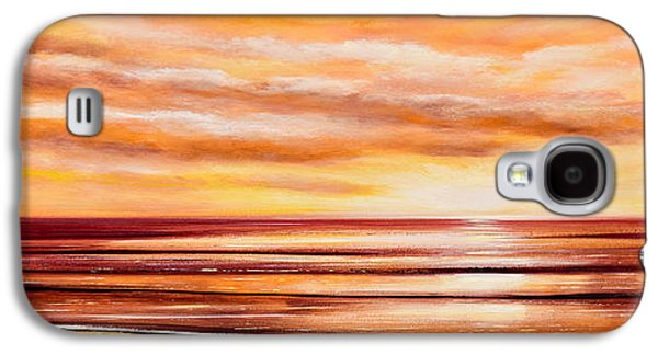 Recently Sold -  - Sunset Abstract Galaxy S4 Cases - Peacefully Yours - Panoramic Sunset Galaxy S4 Case by Gina De Gorna