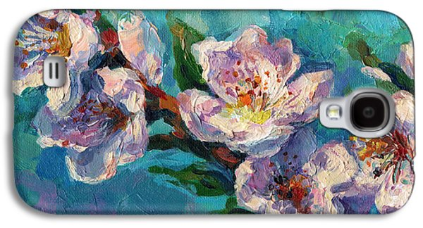 Cherry Blossoms Paintings Galaxy S4 Cases - Peach Blossoms flowers painting Galaxy S4 Case by Svetlana Novikova