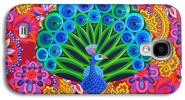 Peacock And Pattern Galaxy S4 Case by Jane Tattersfield