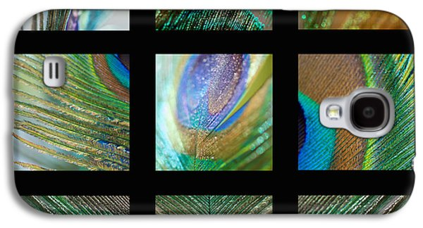 Contemporary Abstract Photographs Galaxy S4 Cases - Peacock Feather Mosaic Galaxy S4 Case by Lisa Knechtel