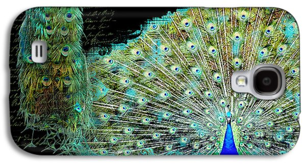 Peacock Pair On Tree Branch Tail Feathers Galaxy S4 Case by Audrey Jeanne Roberts