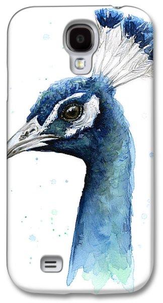 Peacock Watercolor Galaxy S4 Case by Olga Shvartsur