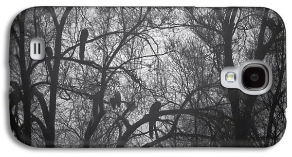 Nature Abstracts Galaxy S4 Cases - Peacocks In The Mist bw Galaxy S4 Case by Denise Dube