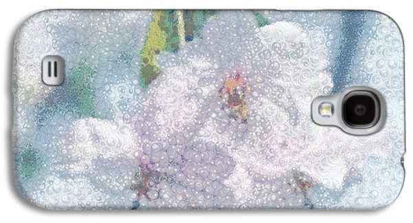 Catherine White Digital Galaxy S4 Cases - Pearlesque Floral Galaxy S4 Case by Catherine Lott