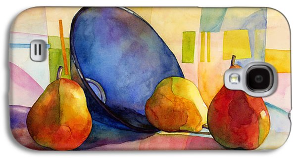 Pears Paintings Galaxy S4 Cases - Pears and Blue Bowl Galaxy S4 Case by Hailey E Herrera