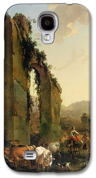 Peasants With Cattle By A Ruined Aqueduct Galaxy S4 Case by Nicolaes Pietersz Berchem