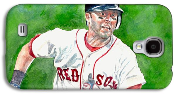 Boston Red Sox Paintings Galaxy S4 Cases - Pedroia Galaxy S4 Case by Nigel Wynter