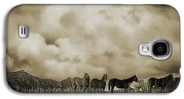 Turbulent Skies Digital Art Galaxy S4 Cases - Peeples Valley Horses in Sepia Galaxy S4 Case by Priscilla Burgers