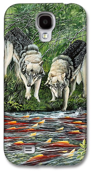Animals Tapestries - Textiles Galaxy S4 Cases - Perplexed Wolves Galaxy S4 Case by Bob Patterson