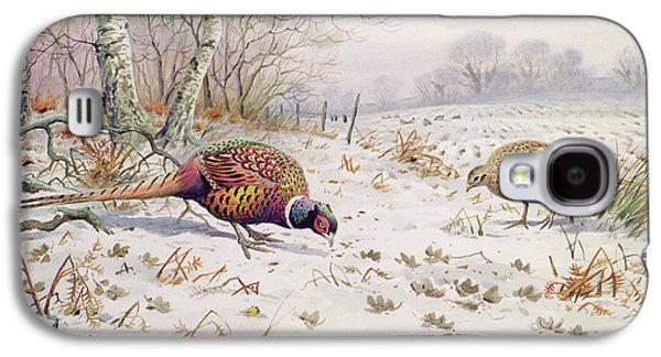 Pheasant And Partridge Eating  Galaxy S4 Case by Carl Donner