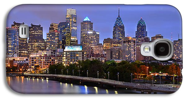 Philadelphia Philly Skyline At Dusk From Near South Color Panorama Galaxy S4 Case by Jon Holiday