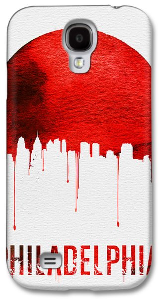 Philadelphia Skyline Redskyline Red Galaxy S4 Case by Naxart Studio