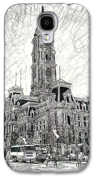 Phillies Drawings Galaxy S4 Cases - Philly City Hall Galaxy S4 Case by Michael  Volpicelli