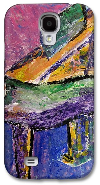 Piano Paintings Galaxy S4 Cases - Piano Purple - cropped Galaxy S4 Case by Anita Burgermeister