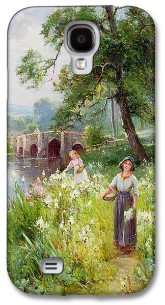 Girl Galaxy S4 Cases - Picking Flowers by the River Galaxy S4 Case by Ernest Walbourn