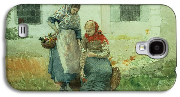 Picking Flowers Galaxy S4 Case by Winslow Homer