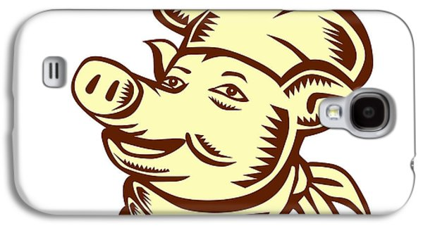 Linoleum Print Galaxy S4 Cases - Pig Chef Cook Head Looking Up Woodcut Galaxy S4 Case by Aloysius Patrimonio