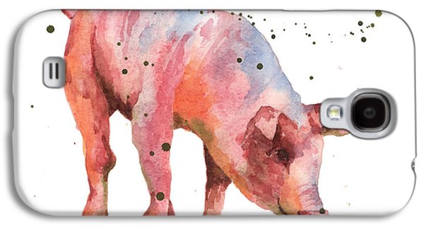 Piglets Paintings Galaxy S4 Cases - Pig Painting Galaxy S4 Case by Alison Fennell
